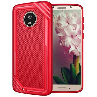 8ccaaedb7ee para Motorola Moto G6 Lattice textura Volver Funda protectora TPU  antigolpes (rojo)