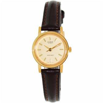 ba821f9896b3 Reloj Casio LTP 1095 Piel café bisel dorado cara dorada barras