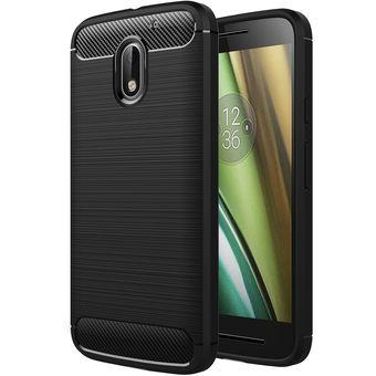 ee2a657a245 para Motorola Moto E3 textura cepillada TPU Funda protectora de fibra de  carbono (negro)