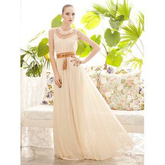 Vestido Largo Sin Mangas De Estilo Modelo Y Elegante De Color Beige