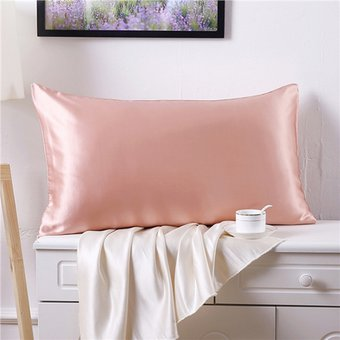 compra 1pcs doble cara funda de almohada de seda 19 momme 76 * 51cm