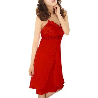 el más nuevo 445fc b9a2b ZANZEA Ropa Interior De Dormir Vestido Pijamas Seda Encaje Camisón Sexy  Para Mujer - Rojo
