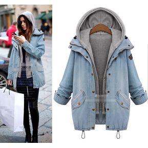 Abrigo De Jeans Chaqueta Con Capucha Fashion-Cool Mujer- Azul 9842bfd18d3f