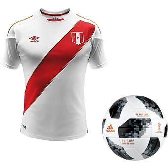 586dc75487095 Agotado Camiseta Umbro Perú Mundial Rusia 2018 + Pelota adidas world cup  toprx