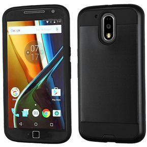 488f1921e38 Funda Case para Motorola Moto G4 Plus / Moto G4 Doble Protector de Plástico Uso  Rudo con Aspecto Metalico-Negro (Electro)