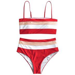 50e916c5e ZAFUL Bikini De Cintura Alta A Rayas Cami