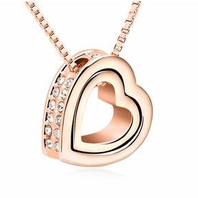 c68abfa8b9e4 Záffira - Collar Corazón Rose con cristales Swarovski - Rosado