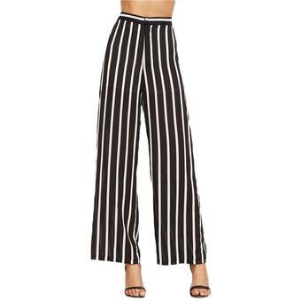 Sueltos Pantalones De Mujer Elegante Marca Para Mujer Pantalones De Rayas  Verticales Negro De Cintura Alta 2cf71aa7db19