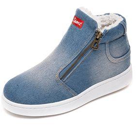 9be5f225 Botas De Invierno De Nieve Para Mujer Zapatos De Algodón Denim