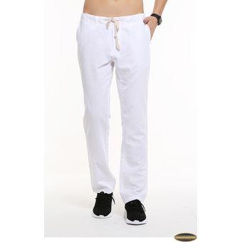Compra Pantalones Casual Algodón Lino Gaupucean Para Hombre-Blanco ... 76b328b5f2c