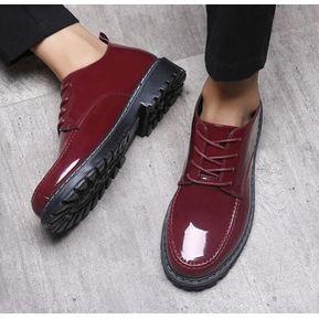brand new 210d4 61fd4 Nuevos zapatos de marea casual para hombre zapatos de cuero zapatos  impermeables-Rojo