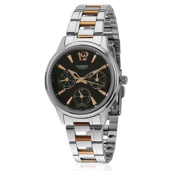 Compra Reloj Casio LTP2085RG Negro Fondo Café Para Mujer online ... 1b1b8549c4cf