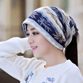 Trendy Warm Hat Fashion Men Women Winter Hat Dual-use Elastic Beanie Scarf  Hat Blue a69fdef7419