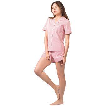 0d745c6cfd Compra Conjunto Pijama Mujer Corto Noite Rayas Rojas online