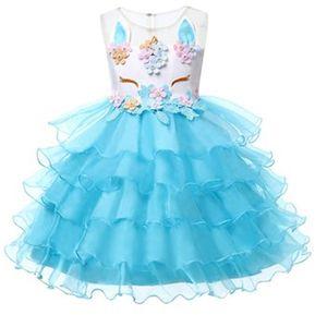 a488ea690 Unicornio Vestido para Niñas Vestidos de Princesa - azul