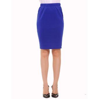 68065e207 Mujeres De Alta Cintura Elástica Mini Lápiz Falda Paquete Hip OL -Azul