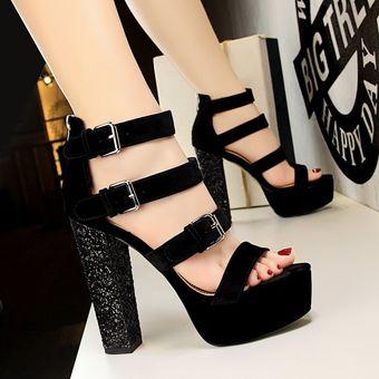 De Muy Alto Tacón Estilo Sandalias Para Romano Lentejuelas Mujer Zapatos FJ1TlKc3