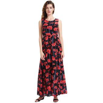98ec845e233f Floral Sin Mangas Vestido De Gasa Maxi (Rojo)