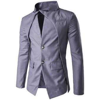 2019 mejor venta de descuento unos dias Hombre Chaqueta Abrigo Sudadera de estilo Casual Irregular cuello alto-Gris