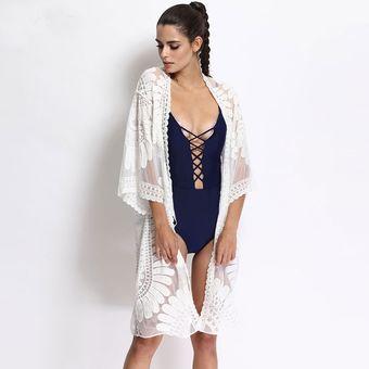 f4d6910eef3 Compra Kimono Cárdigan Blanco - Ropa de playa para Vestido de Baño o ...