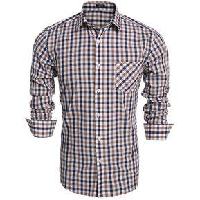 2e10b965ee201 Los Hombres Slim Manga Larga Tela Escocesa Botón Camisas De Moda-Marrón