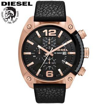 3a7daed4865a Reloj Diesel Overflow DZ4297 Cronometro Acero Inox Correa De Cuero - Negro