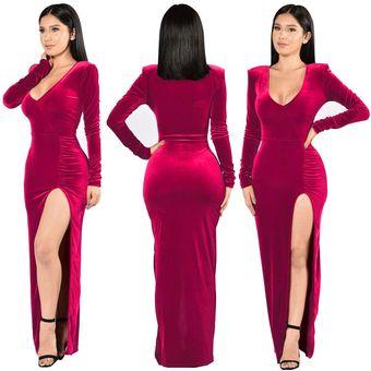 Vestido De Noche De Fiesta De Terciopelo Dorado Para Mujer