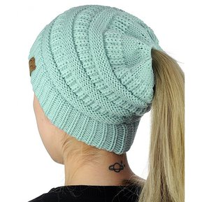 951e62cb4bf98 CC Carta Ponytail Cap Tejer Sombrero Para Damas (Baby Blue)