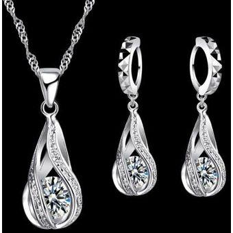 855833ce47a8 Compra Set Collar Y Aretes De Plata Ley .925 Mujer Zirconias Regalo ...