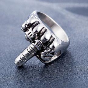 ad61806822de titanio acero retro erecto middle finger fuck punk anillo para hombre