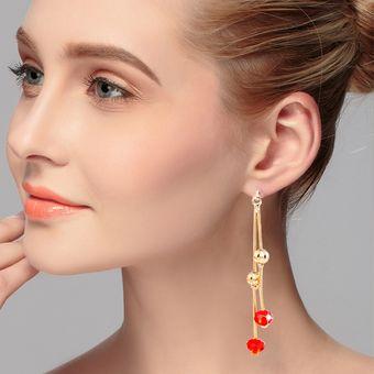 d53f3ad3d0c0 Personalidad Dulce Hada Cualidades Moda Pendientes De Cristal Largo Borla  (rojo)