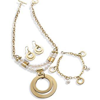 b0c5affe24be Collar + Pulsera + Aretes Caro Cruz Adulto Para Mujer Marketing Personal  60530 Dorado/Blanco