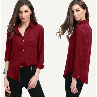 Compra Camisas Blusa Solapa De Gasa -Burdeos online  3460fcd78bf48