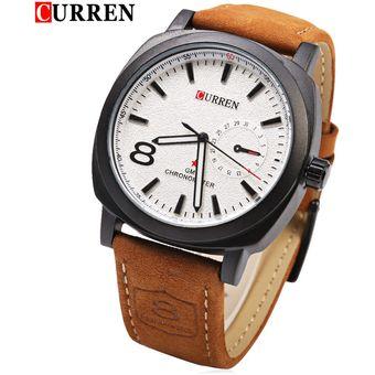 caeee0186c7a3 CURREN 8139 Unisex Reloj De Cuarzo 1 Número árabe Y Trapecios Indicar Banda  De Cuero Reloj