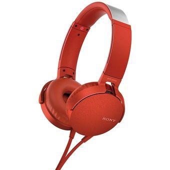 Audífonos Sony Extra BASS Diadema MDR-XB550 Rojos