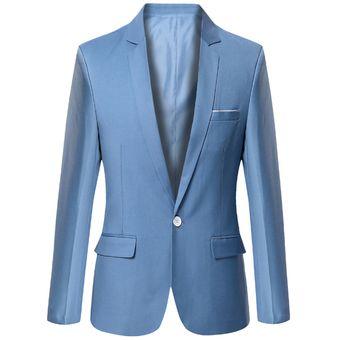 Juego Del Ocio Delgado Traje De Chaqueta Negocios Casual Blazers Para  Hombres- Azul Claro 7409f1096e2