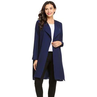 e4afa5a8d4c Agotado Meaneor Abrigo largo de lana manga larga Yucheer para mujer-Azul  oscuro