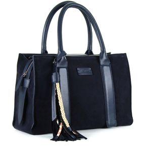 674926c38ab Bolso Cloe satchel con material gamuza y napa de piel - azul