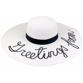 Mujer plegable Sombrero de Paja Sequined Carta plegable grande Seaside Sun  Blanco a871e69ab4d3