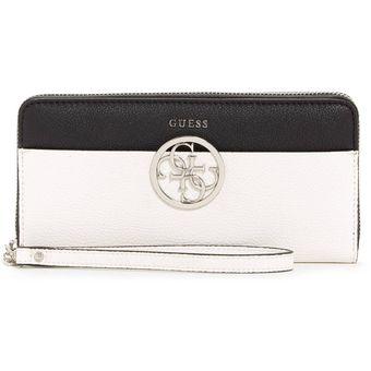 comprar popular 13d44 7be94 Billetera Mujer Guess - Kamryn Color-Block Zip-Around Wallet - Negro/blanco