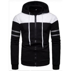 Sudadera casual de color liso de lana deportiva para hombre Negro d65b3d73373