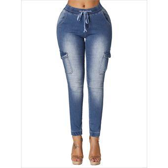 Jeans Elasticos De Cintura Elastica Para Mujer Pantalones De Mezclilla Largos Delgados Con Bolsillos Laterales Azul Claro Linio Peru Ge582fa1lhqmslpe