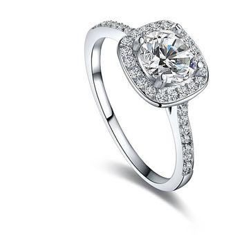 gran venta abbd9 2d775 Diamante Anillo Cristal Platino Plateó Circón Anillo - Platino