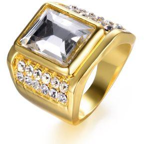 04c95d869c16 EY Hip Hop estilo Hombre Mujer anillo con el cuadrado grande de Strass  Joyas de boda