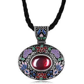 28dc8ee73d41 Collar estilo nacional N011-B clásico de la Mujer (Rojo)