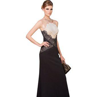 Vestido de noche beige con negro