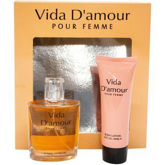 Estuche De 2 Piezas Perfume Vida Damour 50 Ml Crema Corporal 80 Ml