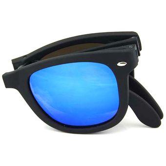 6d3d7b1505 Agotado Moda Plegar Gafas De Sol Mercurio Lentes Los Anteojos Con Caja  -Negro + Azul Mercurio