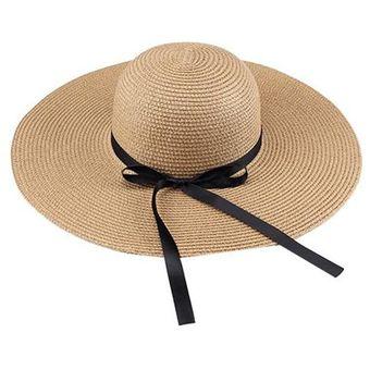 EY Las Mujeres Gran Sombrero De Paja De Ala Ancha Playa De Verano De Sol Con 77ac81f6201