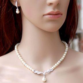 e67d9920dd0d Collar De Perlas De Joyeria Aleacion Pendientes Mujer Simple